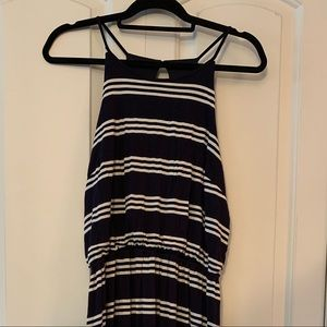 Like New Loft Tank Maxi Dress Blue & White Stripe